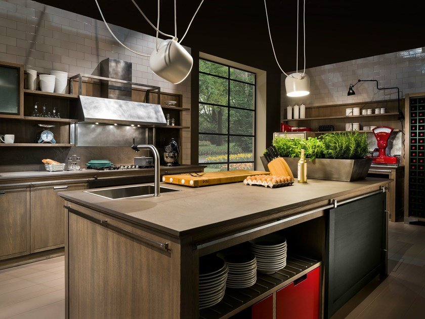 Ash kitchen with island INDUSTRIAL CHIC | Kitchen with island by L'Ottocento