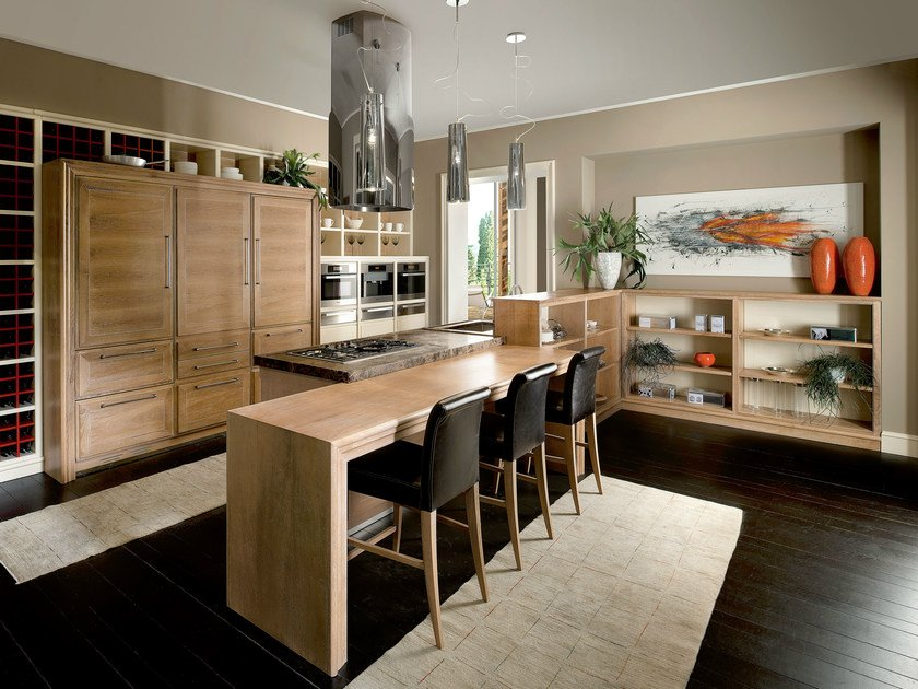 Walnut kitchen with island EVITA | Kitchen with island by L'Ottocento