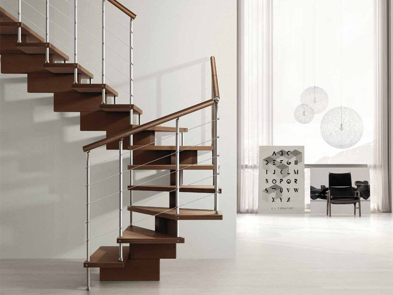 Wooden Open staircase UNIKA 010 by Fontanot