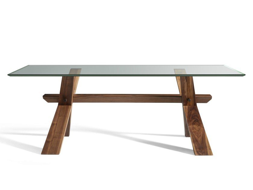 Custom wood and glass table DECIMO | Wood and glass table by L'Ottocento