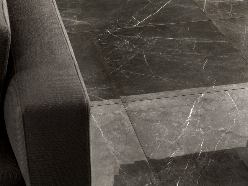 Porcelain stoneware wall/floor tiles with marble effect ANIMA GRAPHITE by Ceramiche Caesar