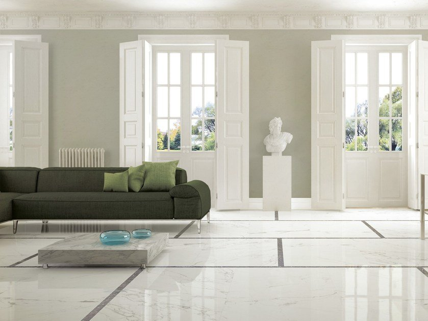 Porcelain stoneware wall/floor tiles with marble effect ANIMA STATUARIO VENATO by Ceramiche Caesar