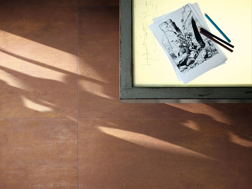 Porcelain stoneware wall/floor tiles with metal effect TRACE CORTEN by Ceramiche Caesar
