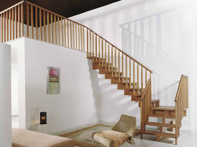 Wooden Open staircase UNIKA Wooden Balusters by Fontanot
