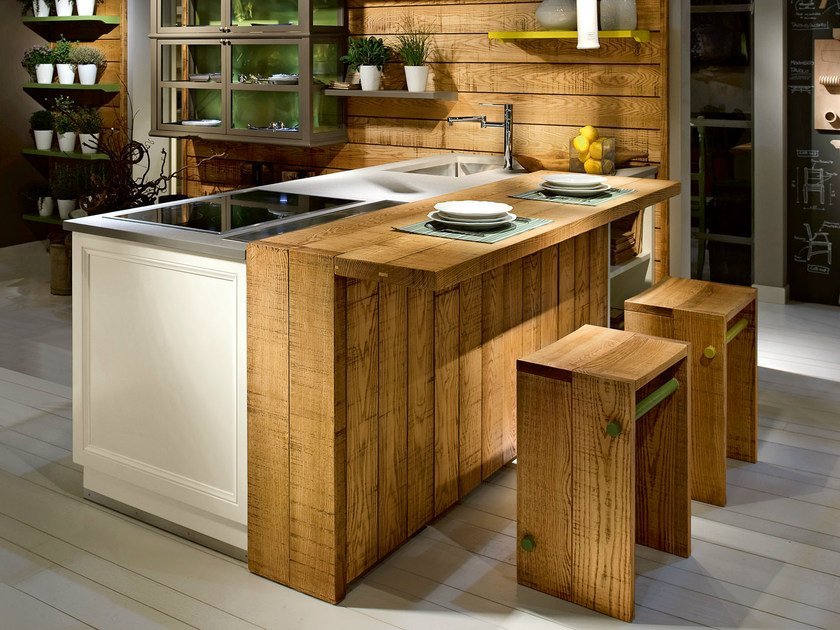 Ash kitchen with island LIVING CASUAL by L'Ottocento