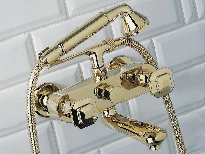 Wall-mounted bathtub tap with hand shower TRADITION | Bathtub tap by INTERCONTACT