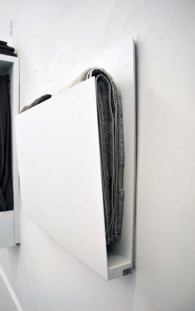 Wall-mounted electric aluminium towel warmer MAGAZINE by mg12