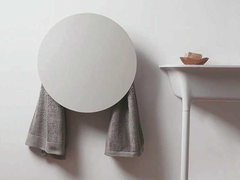 Electric wall-mounted aluminium towel warmer ROUND by mg12