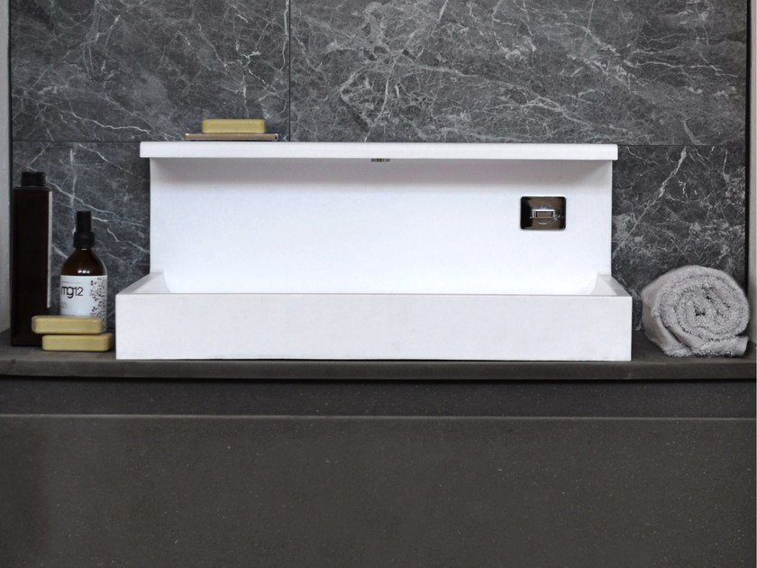 Countertop rectangular Solid Surface washbasin JP | Solid Surface washbasin by mg12