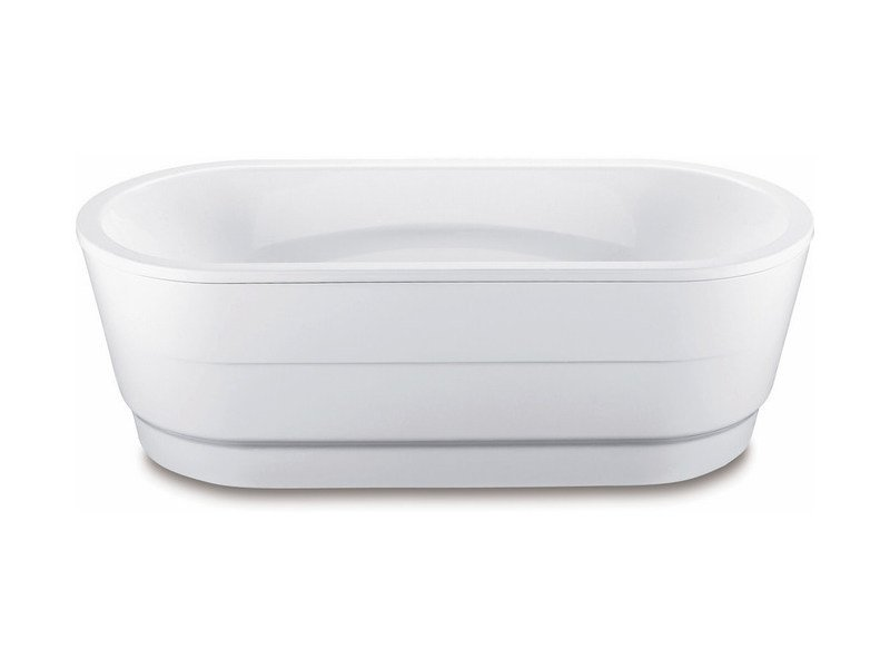 Freestanding oval enamelled steel bathtub VAIO DUO OVAL WITH PANELLING by Kaldewei Italia