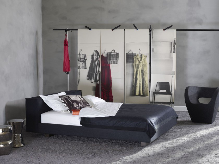 Upholstered fabric double bed Gala 18-M + NONUS-2 by Schramm Werkstätten