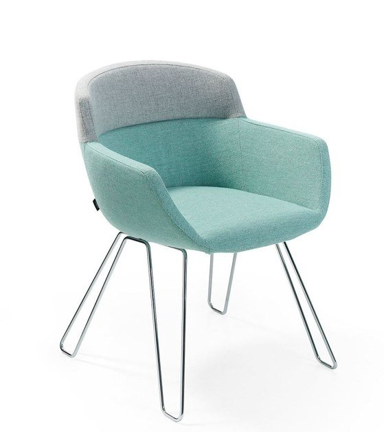 Upholstered fabric chair with armrests MOOD WIRE by Artifort