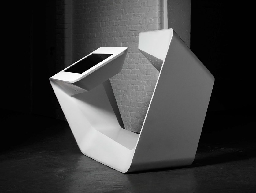 Solid Surface Multimedia Display Stand DOUBLE MEDIA UNIT By Isomi