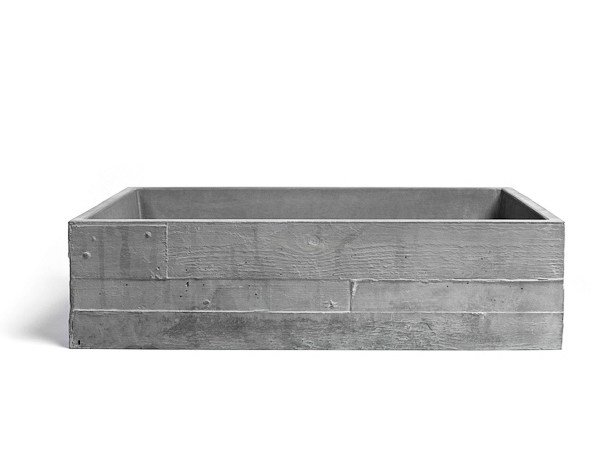 Countertop rectangular Concrete and cement-Based materials washbasin INVIVO 60 by URBI et ORBI