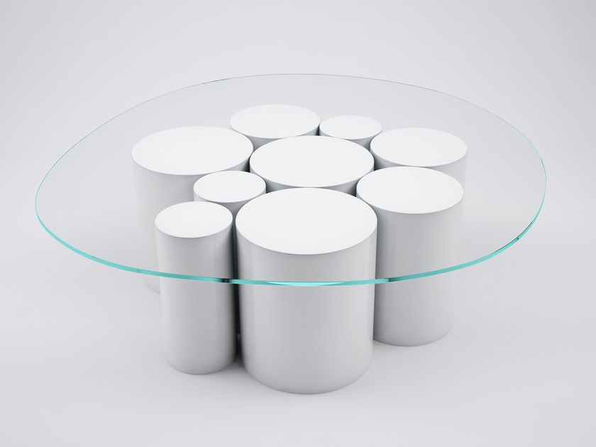 Low round crystal coffee table POINTILLISME | Round coffee table by VIDAME CREATION
