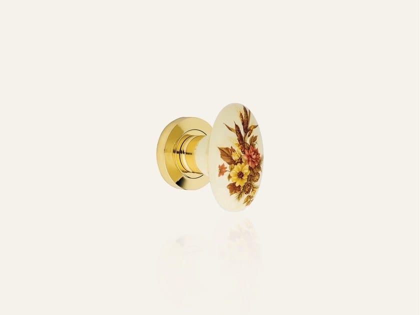 Ottone lucido verniciato + porcellana beige fiore marrone