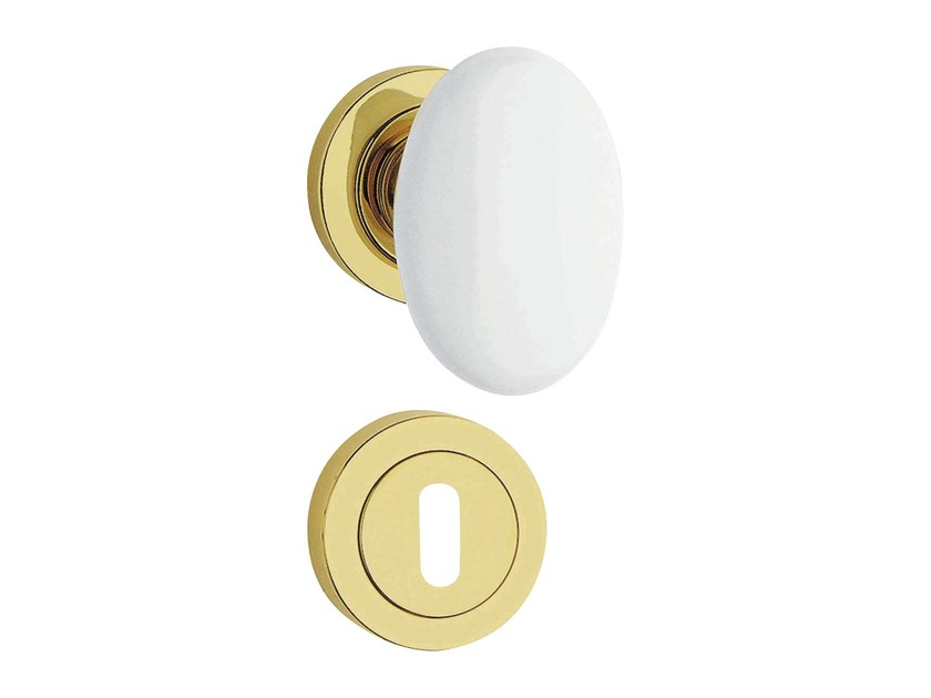 Classic style brass door knob with lock FLAVIA | Door knob with lock by LINEA CALI'