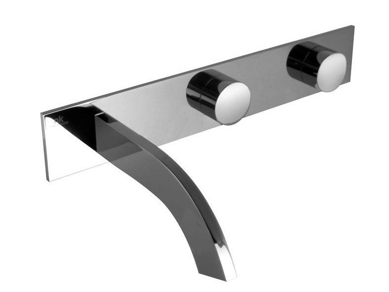 Wall-mounted chrome-plated washbasin tap with plate GIRO | Wall-mounted washbasin tap by Noken