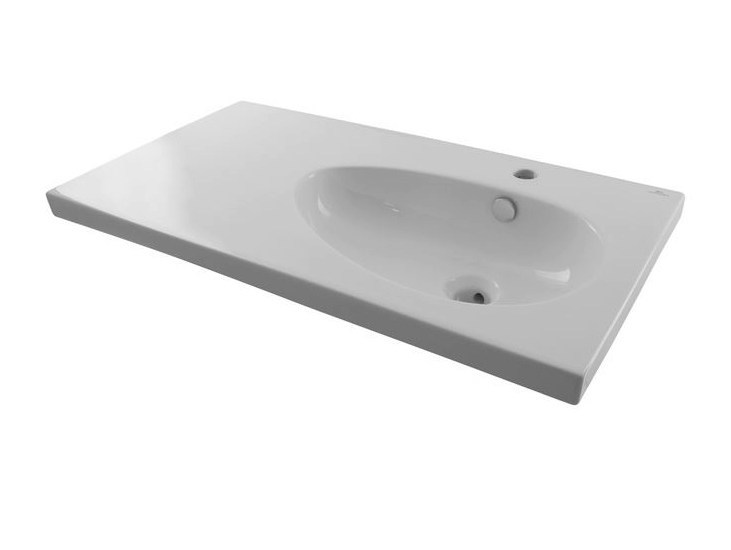 Inset oval washbasin with integrated countertop HOTELS | Single washbasin by Noken