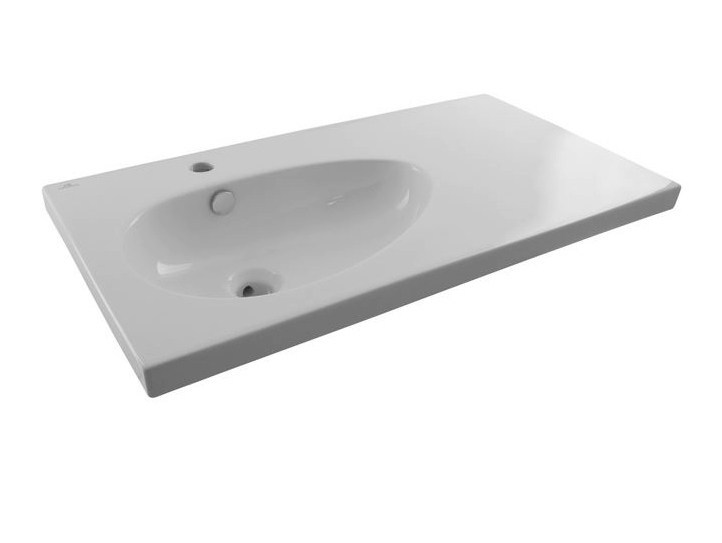 Washbasin with integrated countertop with overflow HOTELS | Washbasin with integrated countertop by Noken