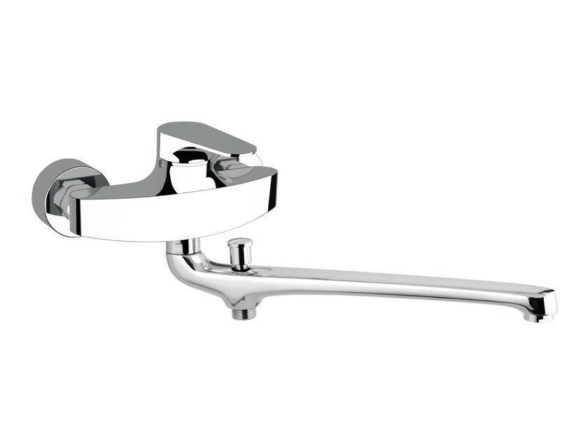 Wall-mounted chrome-plated bathtub mixer with diverter CLASS LINE | Bathtub mixer with diverter by Remer Rubinetterie