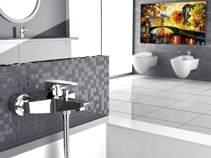 Wall-mounted chrome-plated single handle bathtub mixer CLASS LINE   Chrome-plated bathtub mixer by Remer Rubinetterie