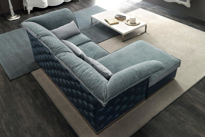 Tufted 3 seater fabric sofa with chaise longue TIAGO | Sofa with chaise longue by CorteZari