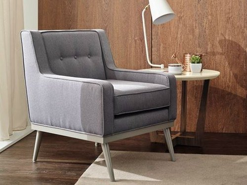 Tufted upholstered fabric armchair with armrests DUBLIN by VANGUARD CONCEPT