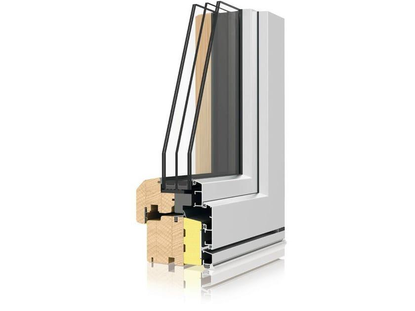 Aluminium and wood triple glazed window UNI_ONE TERMOSCUDO by Sistema UNI_ONE