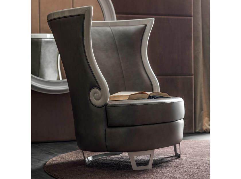 Leather armchair with armrests GAUDÌ | Armchair by CorteZari