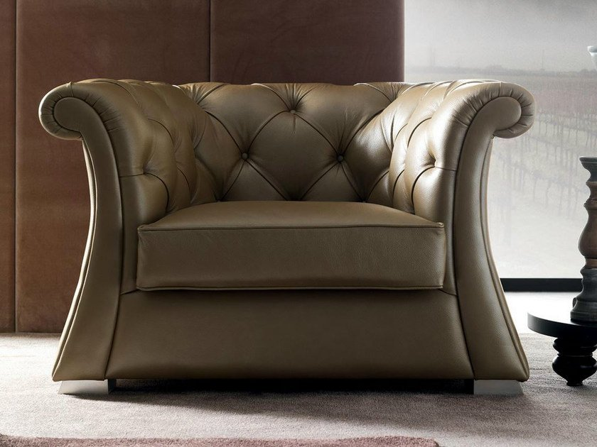 Tufted upholstered leather armchair PASCAL | Armchair by CorteZari