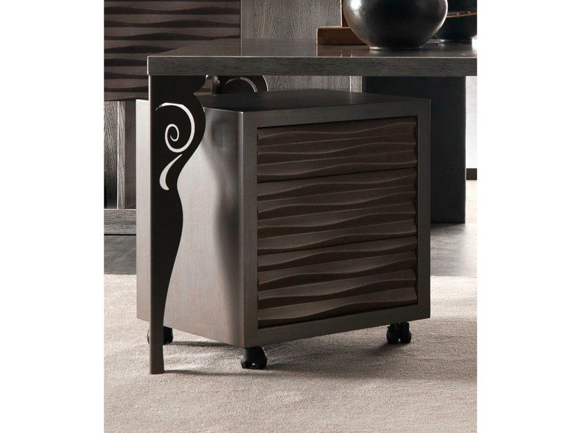 Rectangular bedside table with castors EBON | Bedside table by CorteZari