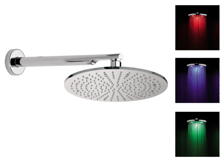 Wall-mounted overhead shower with arm with chromotherapy 15L-NO | Overhead shower with chromotherapy by Rubinetterie Mariani