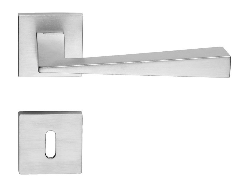 Contemporary style brass door handle on rose with lock CONICA ZINCRAL | Door handle with lock by LINEA CALI'