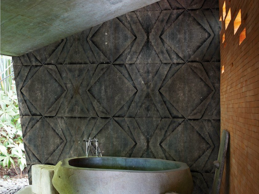 Geometric bathroom wallpaper FOLD by Wall&decò