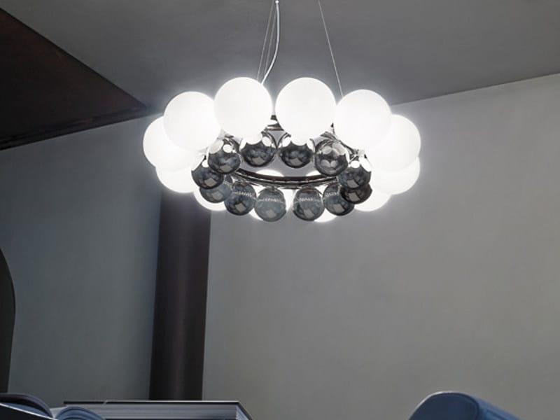 Blown glass pendant lamp 24 PEARLS SP by Vetreria Vistosi