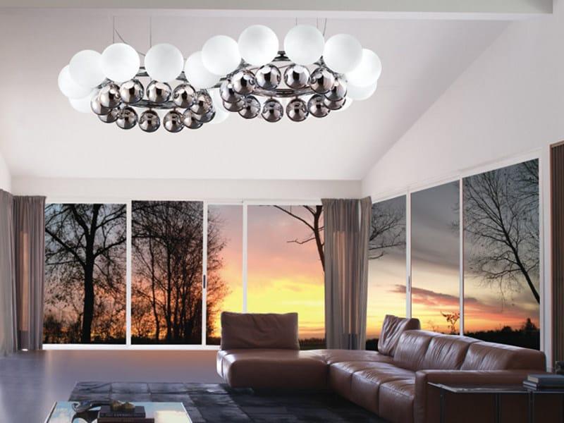 Blown glass pendant lamp 24 PEARLS SP K2 by Vetreria Vistosi