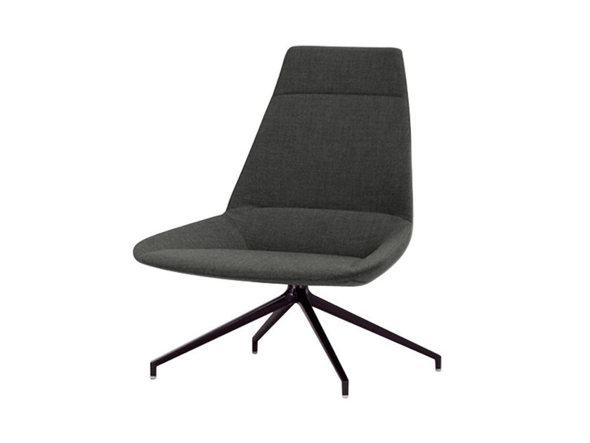 Upholstered trestle-based high-back armchair DUNAS | High-back armchair by Inclass Mobles