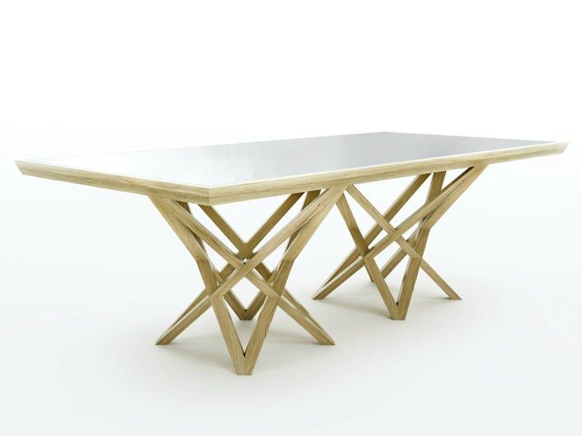 Rectangular solid wood living room table XERXES by Belfakto