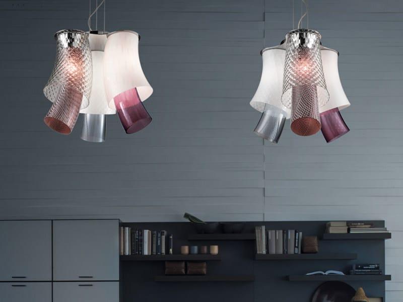 Blown glass pendant lamp ASSIBA SP 6 D2 by Vetreria Vistosi