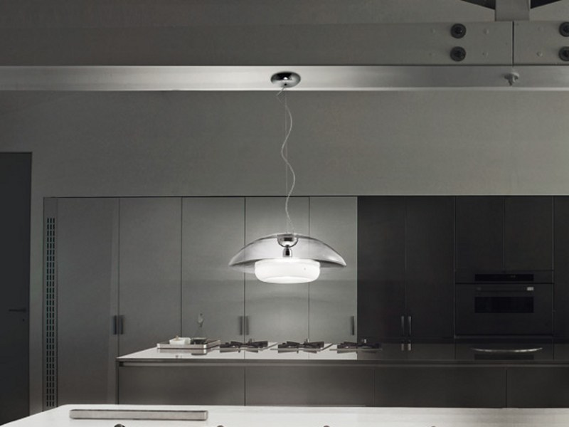 Satin glass pendant lamp BAUTA SP by Vetreria Vistosi