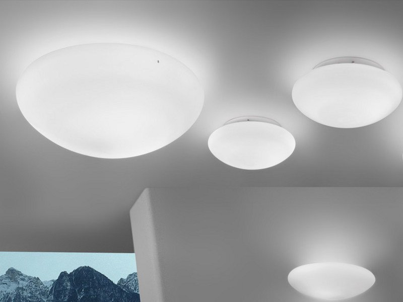Glass ceiling light BIANCA PL by Vetreria Vistosi