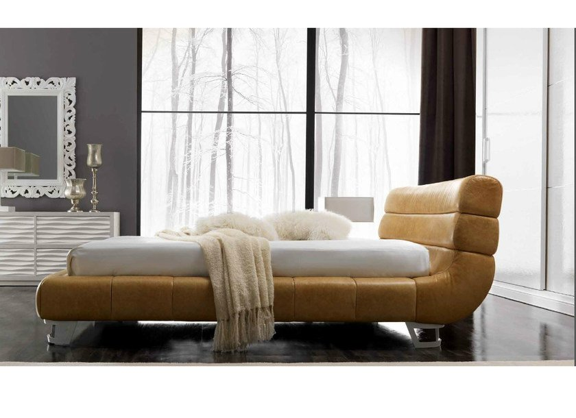 Leather double bed with upholstered headboard KURTIS by CorteZari