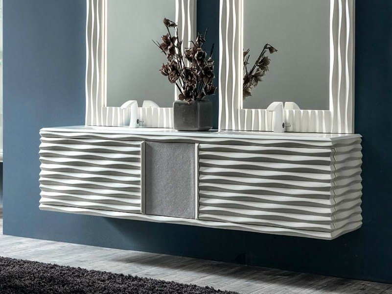 Double wall-mounted vanity unit EBON | Vanity unit by CorteZari