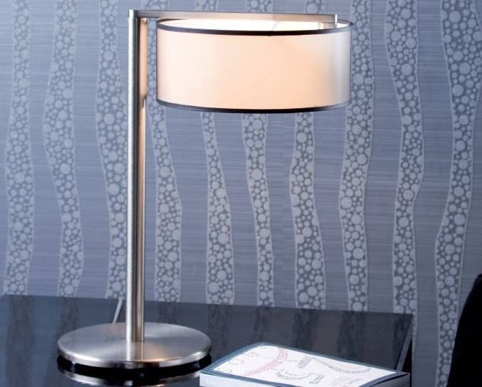 LED fluorescent nickel table lamp MATRIX S by luxcambra