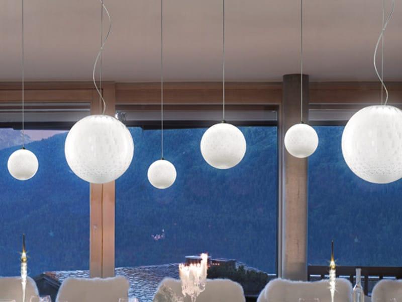 Glass pendant lamp BOLLE SP P by Vetreria Vistosi