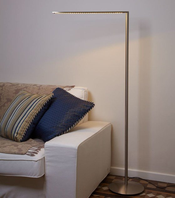 LED nickel floor lamp MATRIX LED P by luxcambra