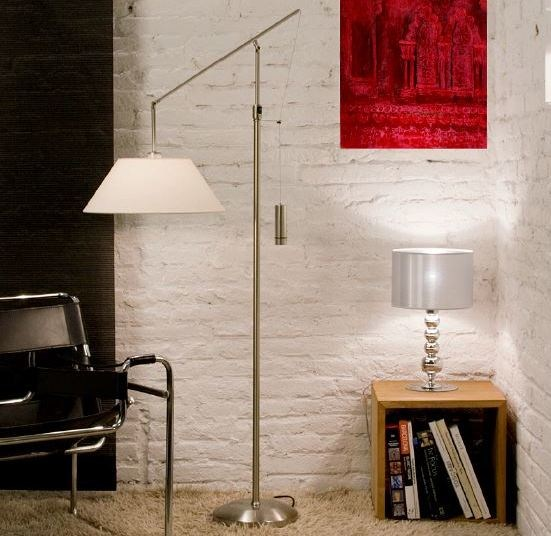 Fabric floor lamp with swing arm VENECIA by luxcambra