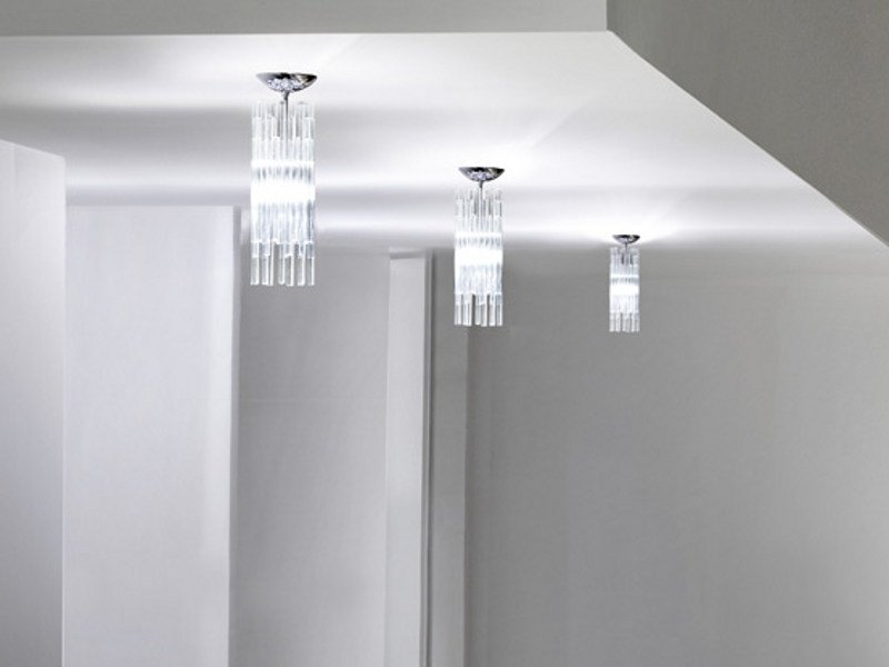 Direct light halogen blown glass ceiling lamp DIADEMA FA by Vetreria Vistosi