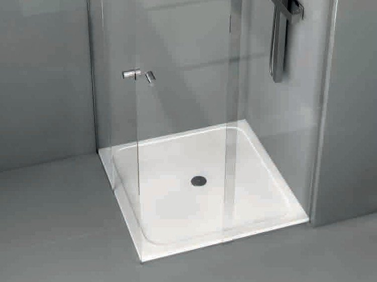 Square Silestone® shower tray FLOW by Cosentino